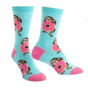 NWT Sock It to Me Snackin' Sloth Women's Crew Sock